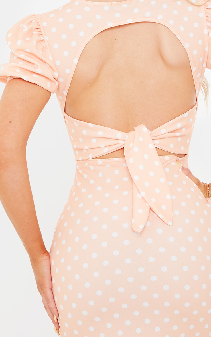 Tangerine Polka Dot Puff Sleeve Cut Out Ruched Midi Dress 4