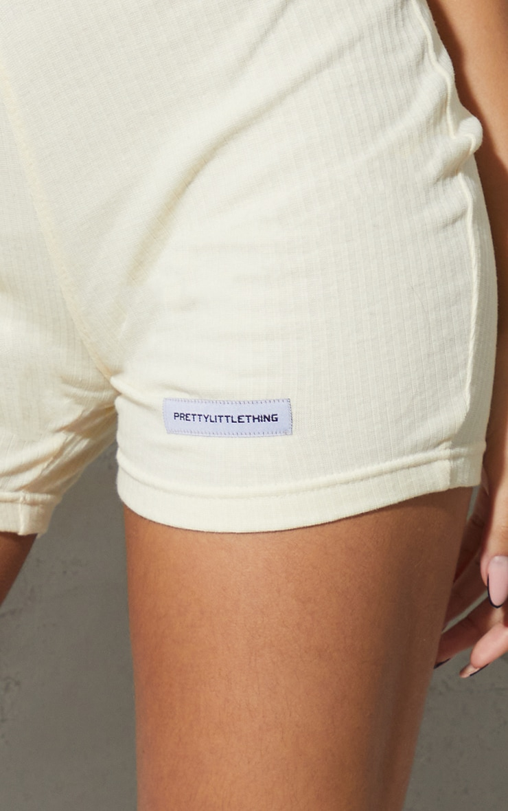 PRETTYLITTLETHING Cream Rib Badge Cycle Shorts 5