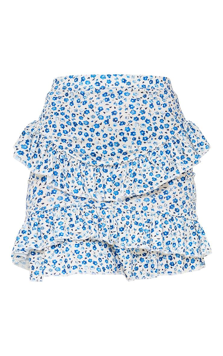 Petite Baby Blue Ditsy Floral Ruffle Mini Skirt 6