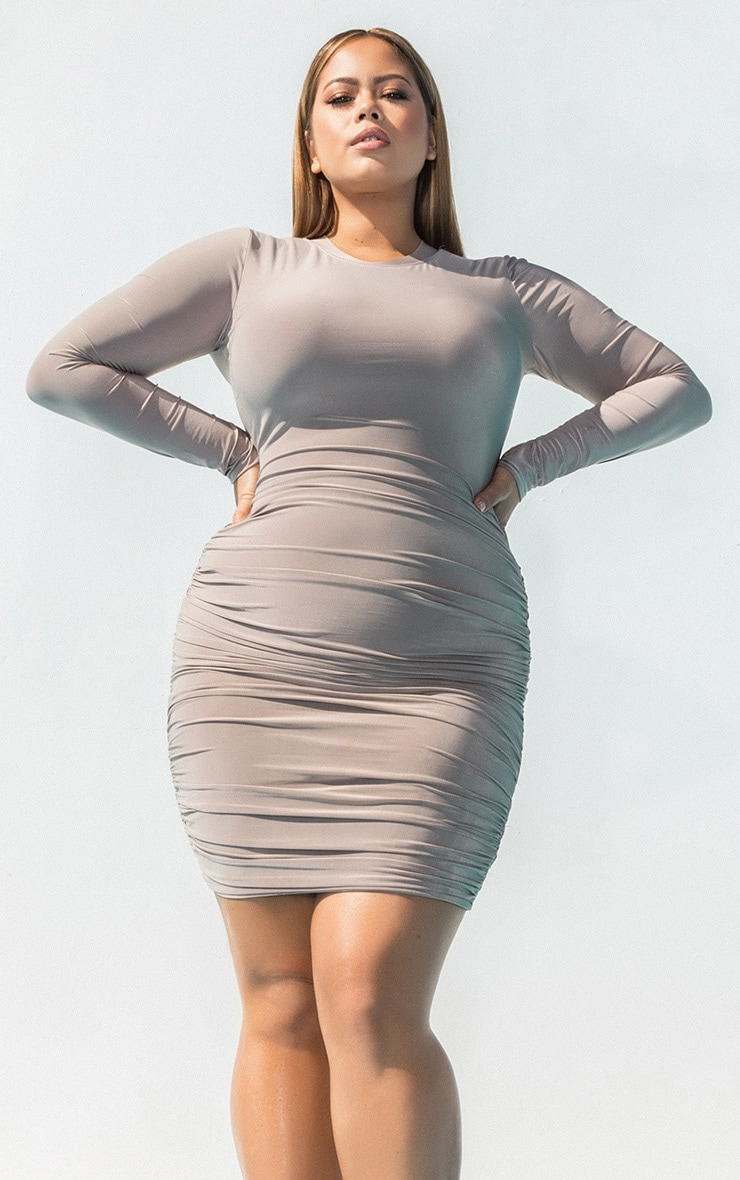 Plus Second Skin Taupe Long Sleeve Ruched Contrast Stitch Midi Dress 1