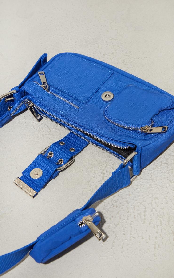 Electric Blue Multi Pocket And Zip Shoulder Bag 4