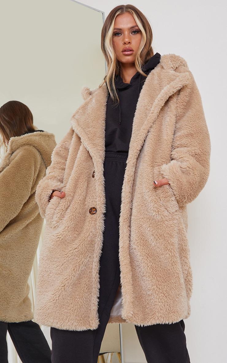 Camel Teddy Faux Fur Hooded Coat 1