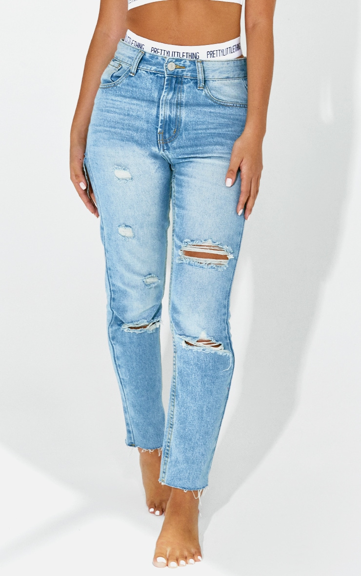 Petite Light Wash Distressed Mom Jeans 2