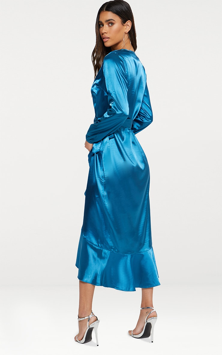 Wrap Plunge Frill Detail Long Sleeve Satin Midaxi 2