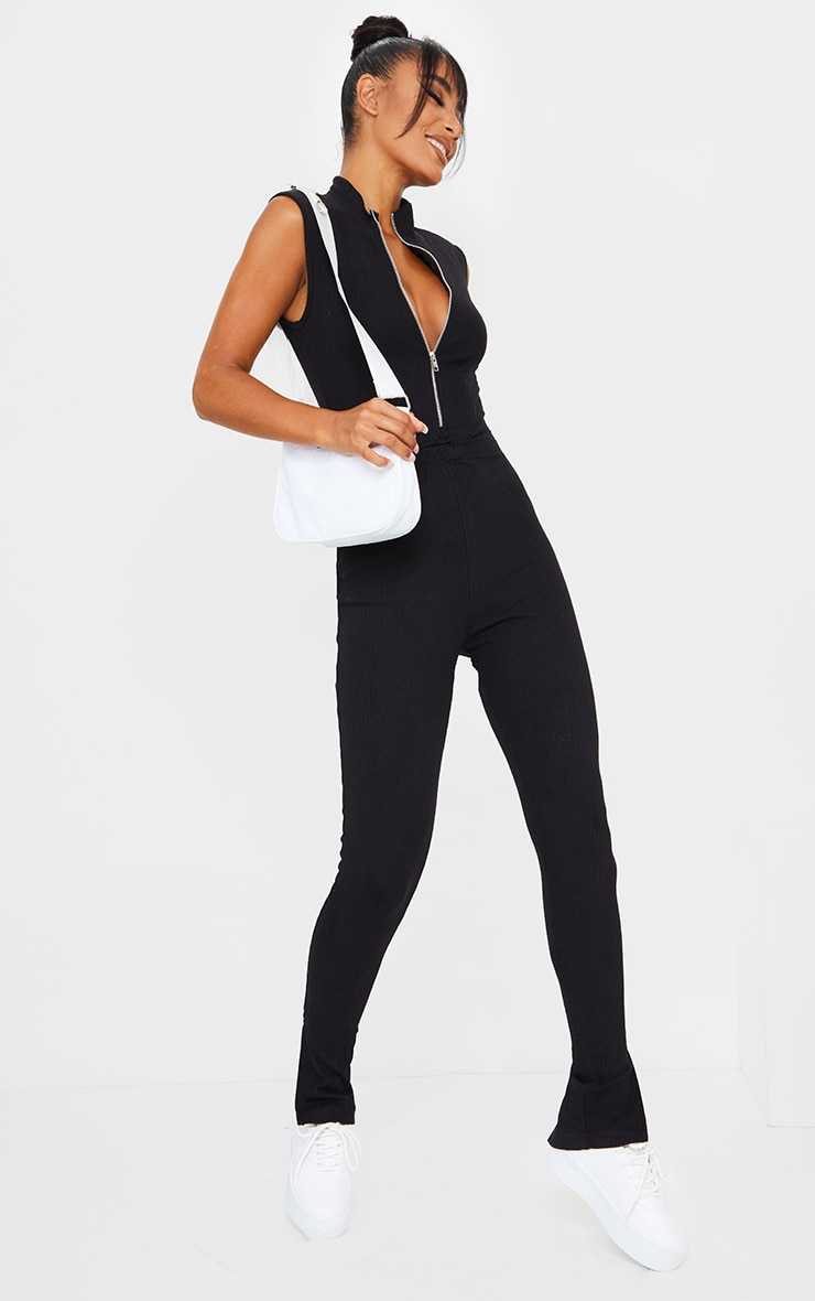 Black Thick Rib Zip Front Sleeveless Jumpsuit 3