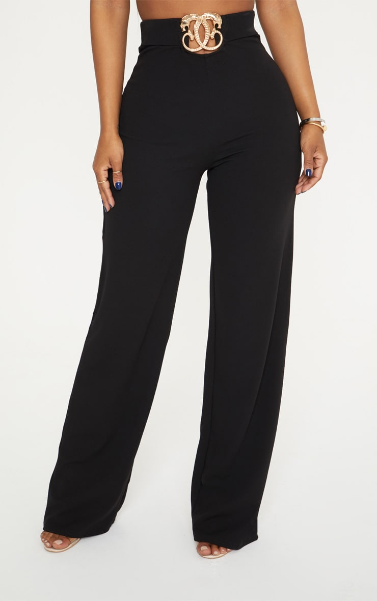 Shape Black Belt Trim Wide Leg Trousers 2