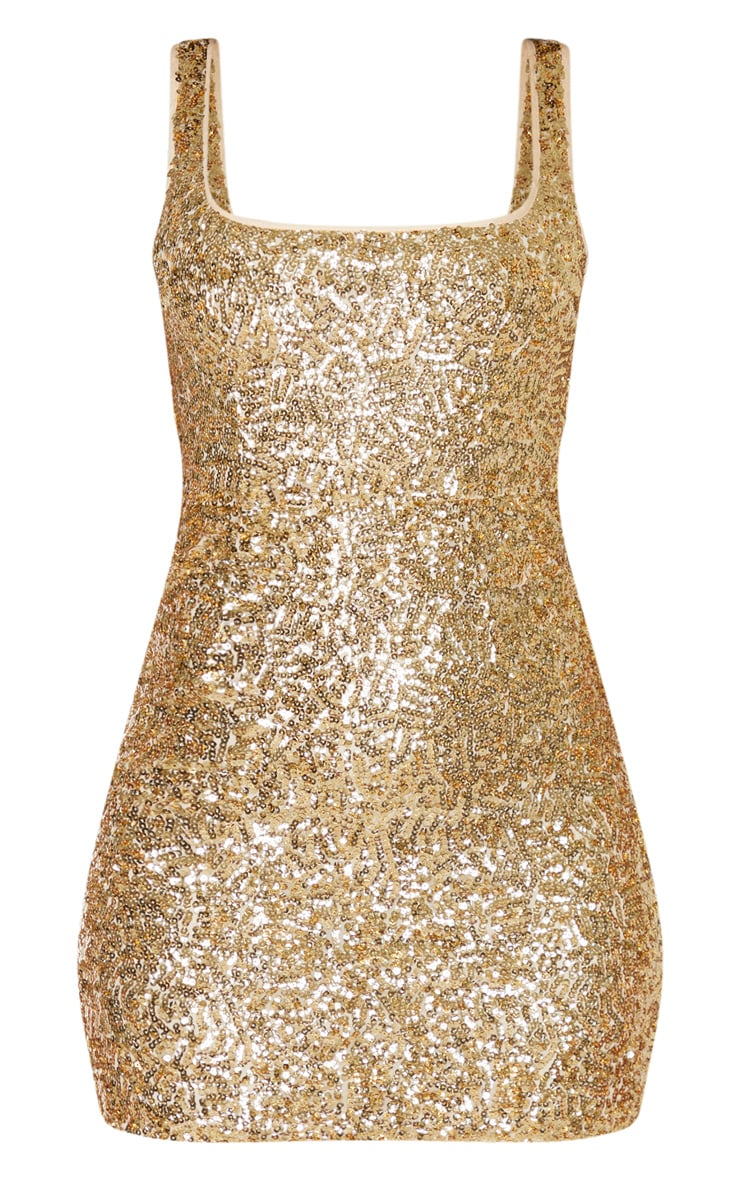 Gold Sequin Sleeveless Square Neck Bodycon Dress 3