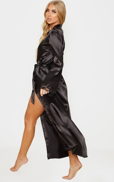 Black Long Lace Trim Satin Robe