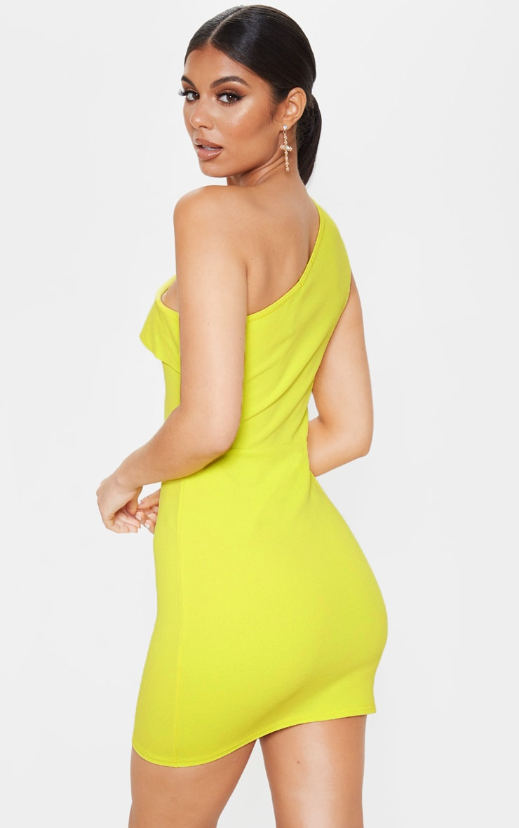 Chartreuse One Shoulder Frill Detail Bodycon Dress 2