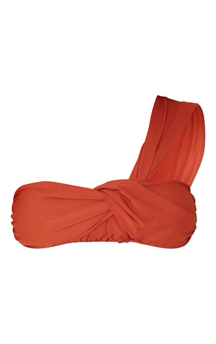 Cream Padded Tie One Shoulder Bikini Top 5