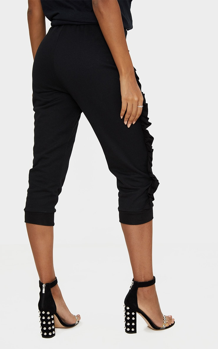 Black Cropped Side Frill Joggers 4