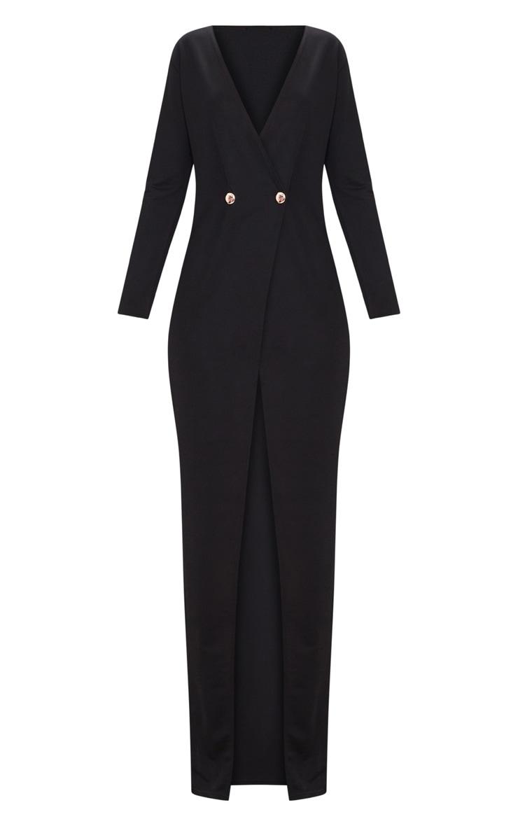 Black Button Detail Blazer Maxi Dress 3