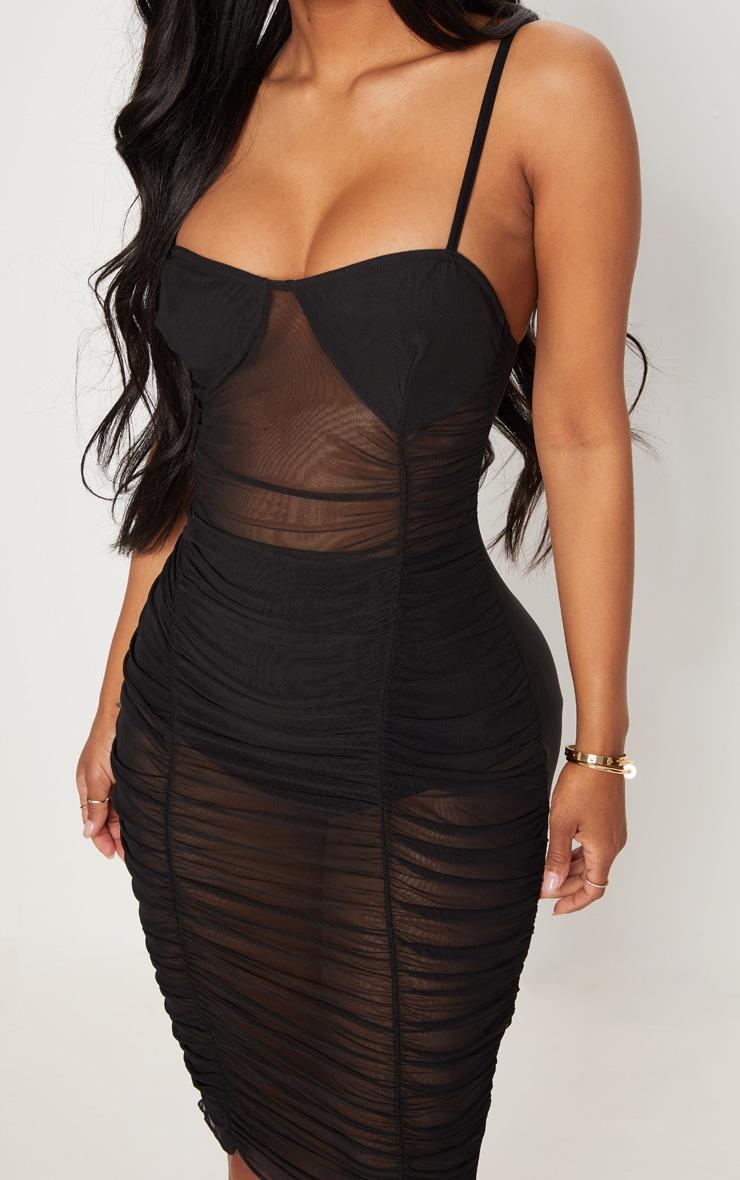 Shape Black Ruched Strappy Mesh Longline Midi Dress 5