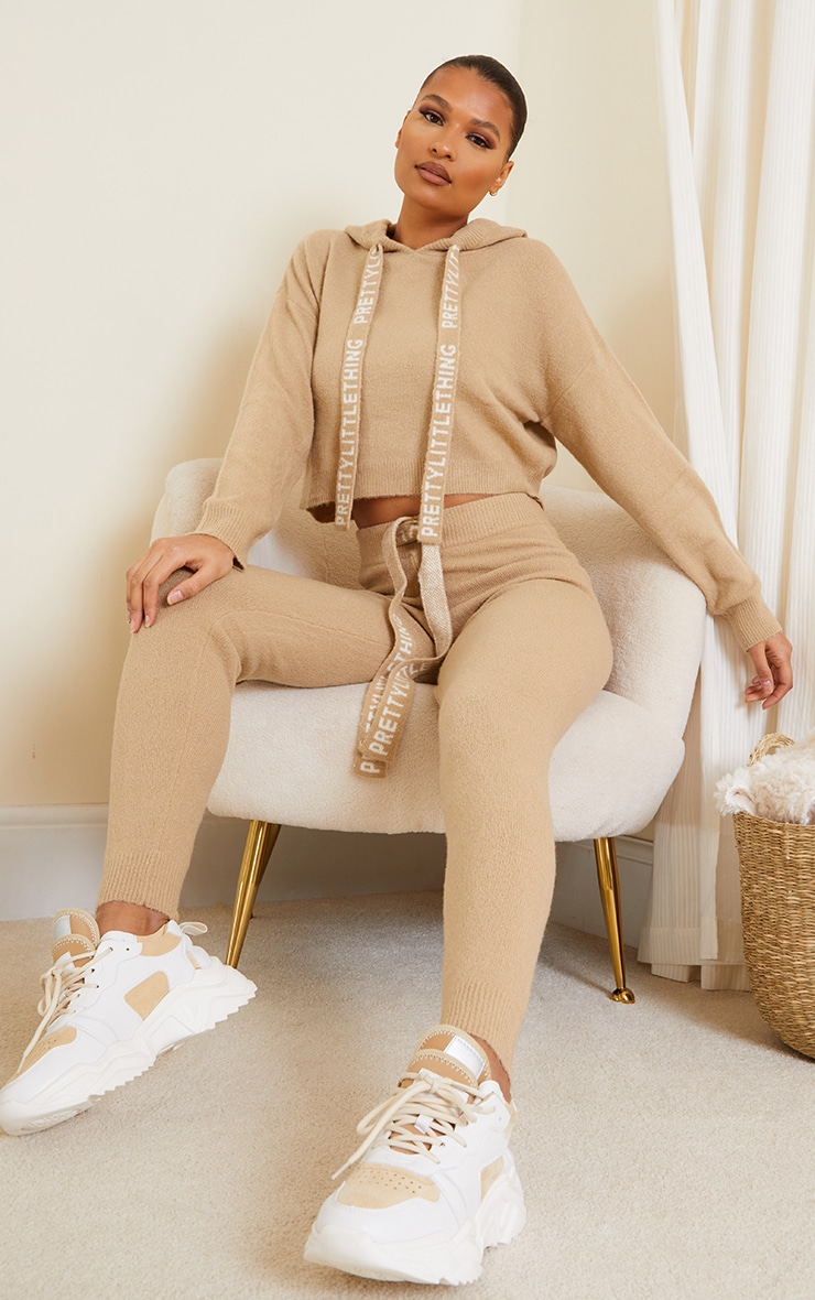 PRETTYLITTLETHING Stone Soft Knitted Joggers 1