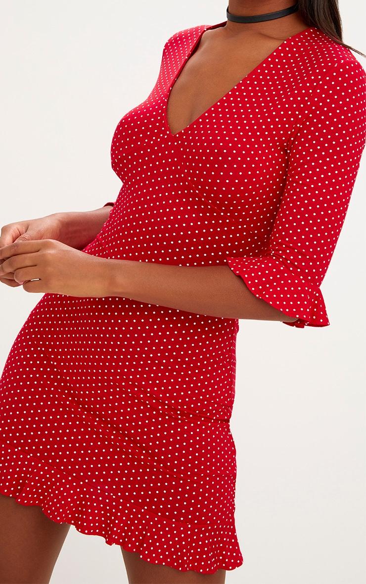 009b180b0a77 Red Polka Dot Frill Hem Shift Dress. Dresses | PrettyLittleThing