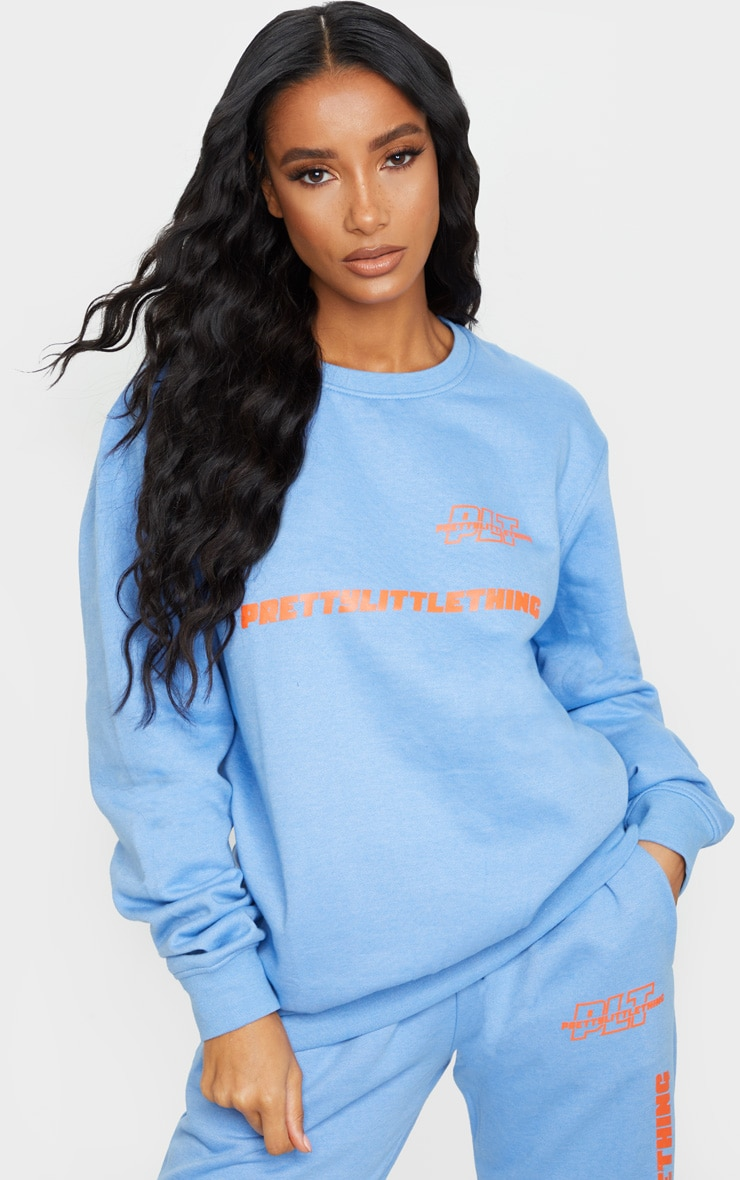 PRETTYLITTLETHING Blue Slogan Oversized Sweater 1