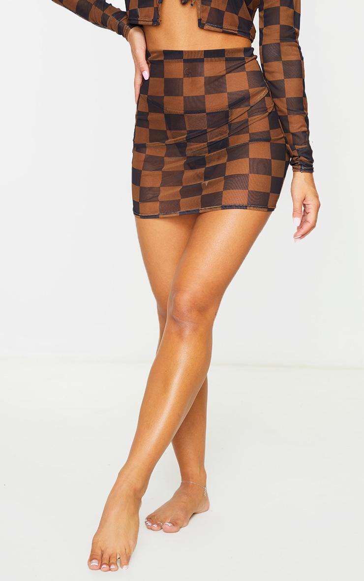 Brown Checkerboard Mesh Mini Beach Skirt 2