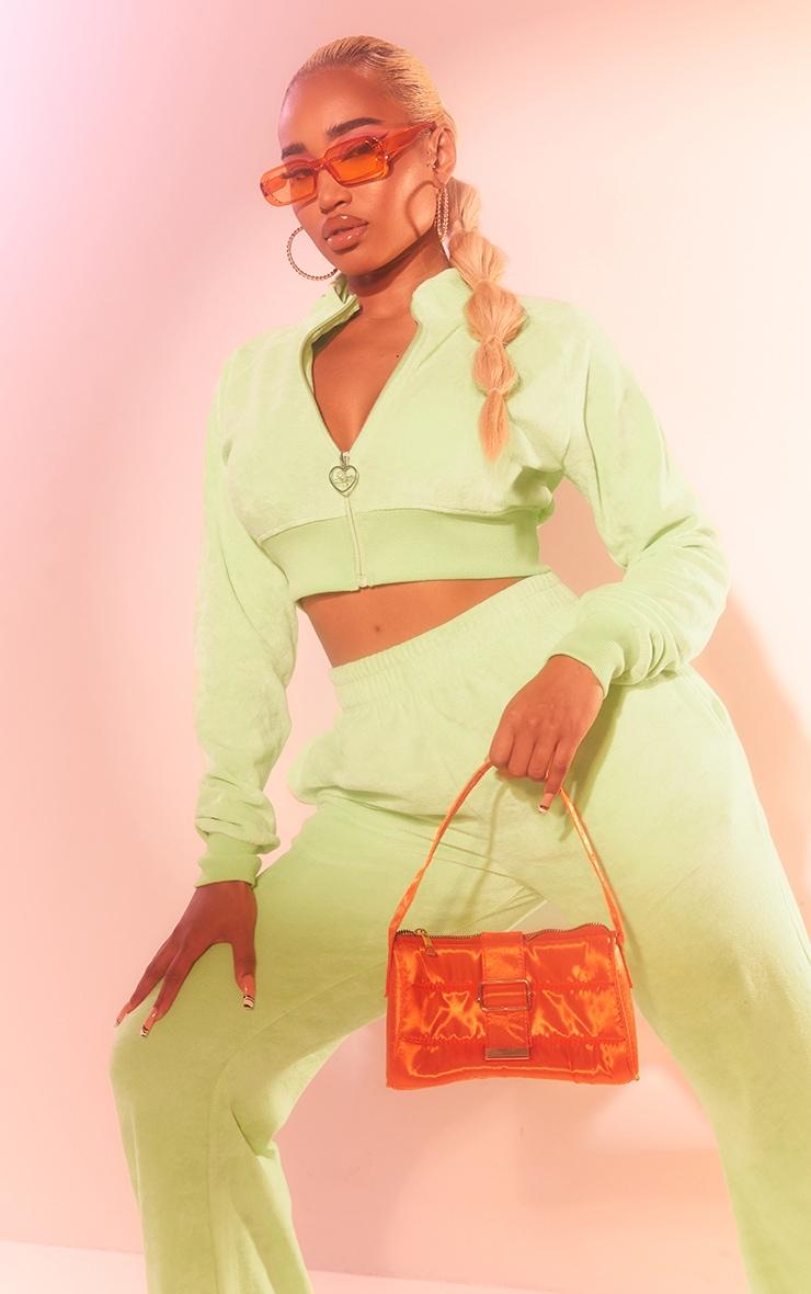 PRETTYLITTLETHING Shape Lime Velour Cropped Zip Up Sweatshirt 4