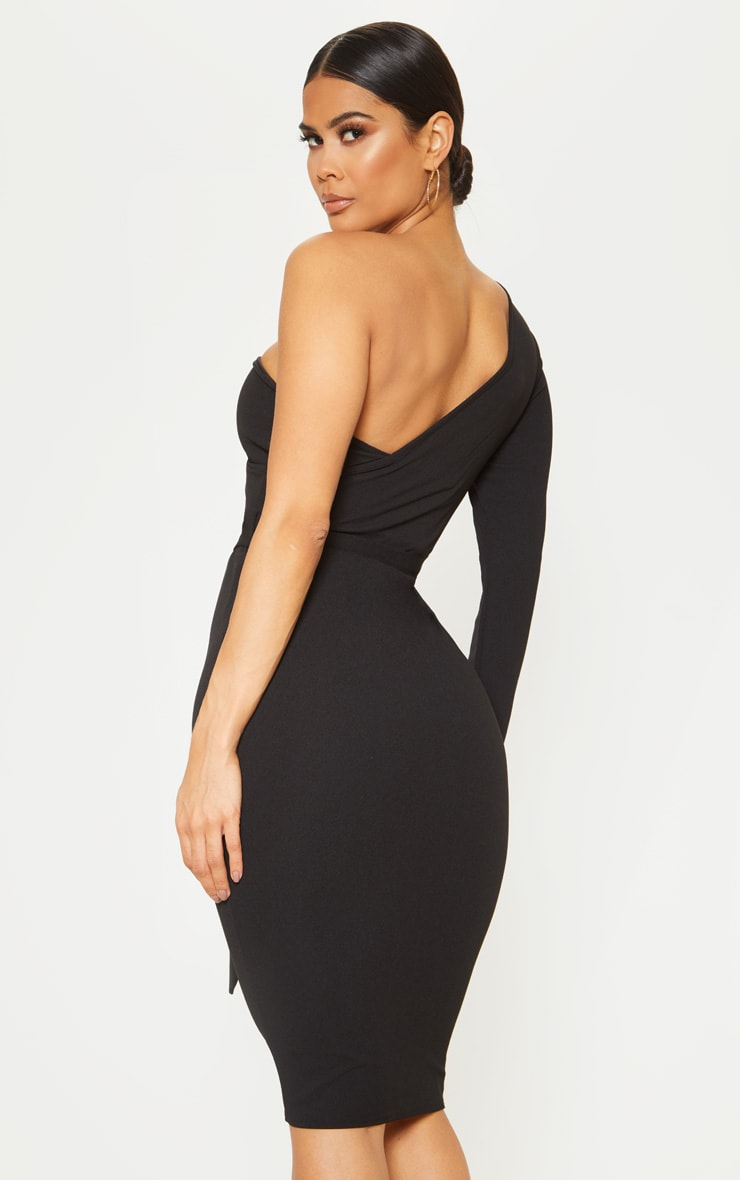 Black One Shoulder Tie Waist Midi Dress 2