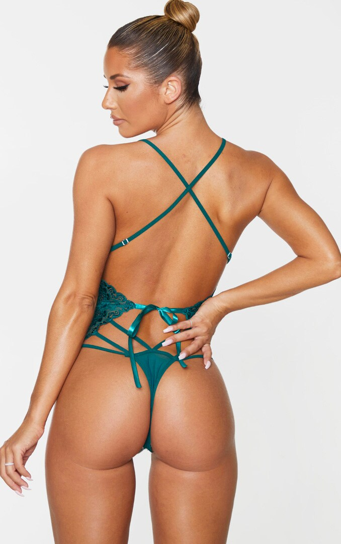 Emerald Green Strapping Detail Lace Body 2