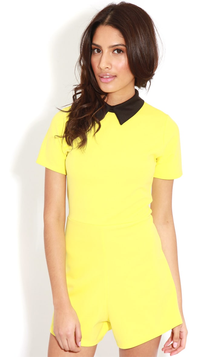Edie Lime Playsuit With Black Collar Detail 1