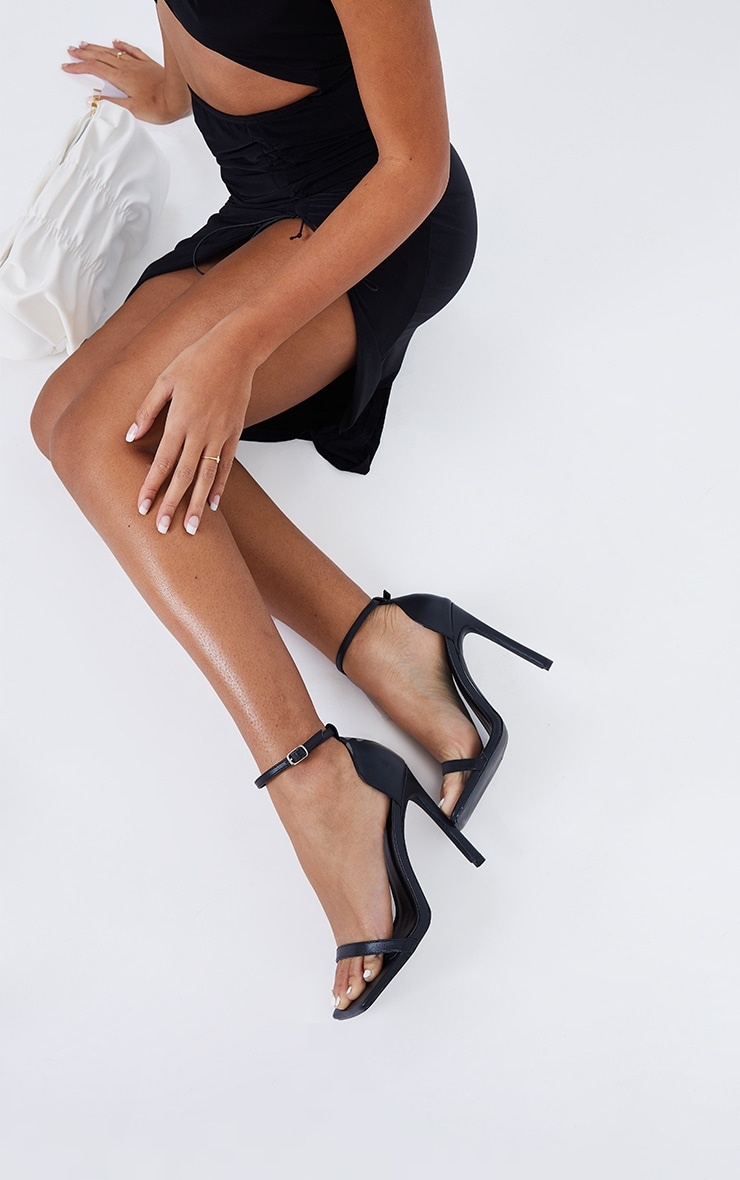 Black WIDE FIT Pu Barely There Strappy Heeled Sandals 1