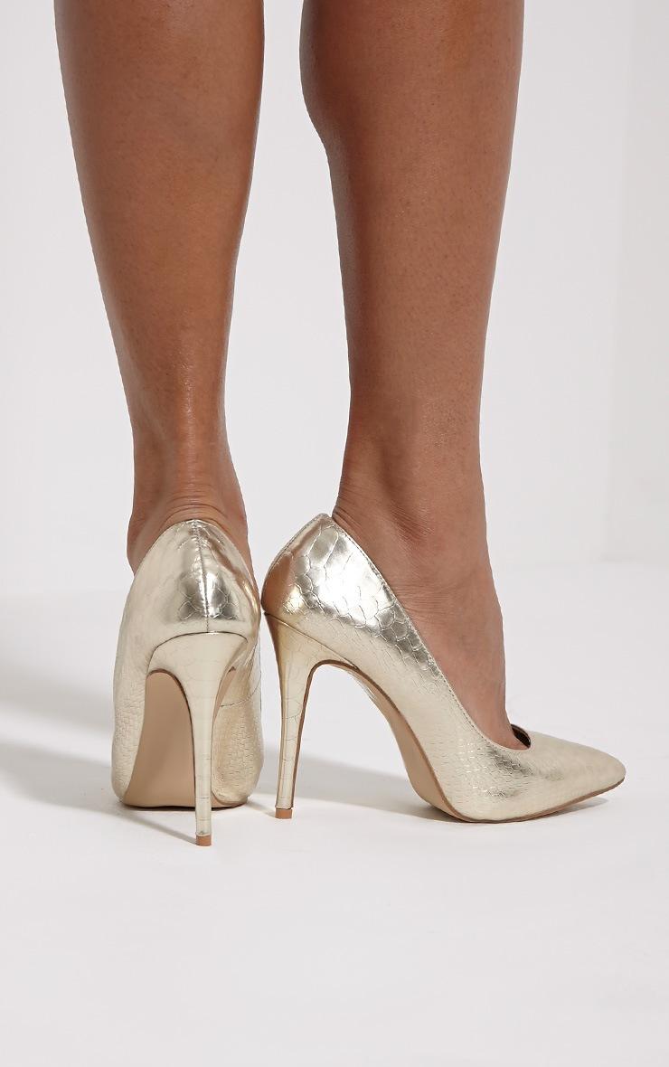 Lori Gold Metallic Snake Skin Pointed Court Heels 2