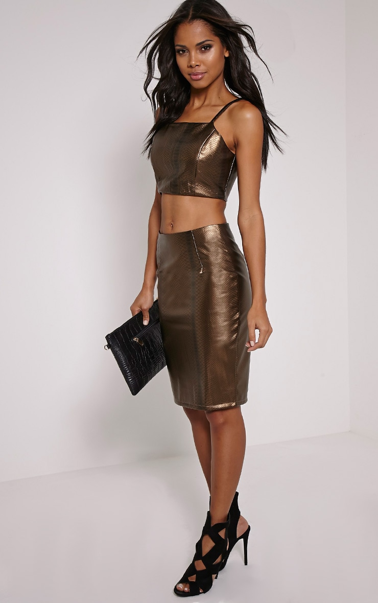 Mollie Gold Snake Print Faux Leather Crop Top 3
