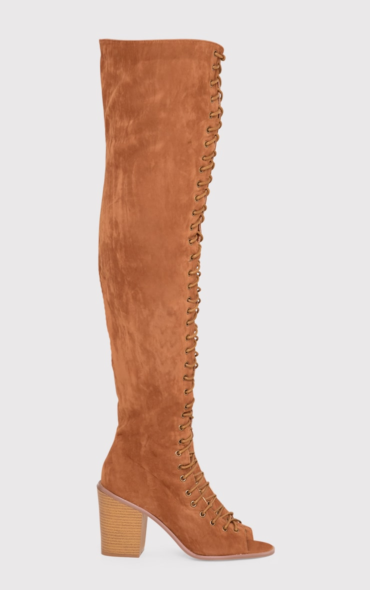 Edena Tan Thigh High Lace Up Boots 2
