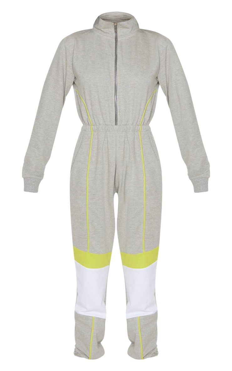 Grey Zip Detail Colour Block Sweat Jumpsuit 3