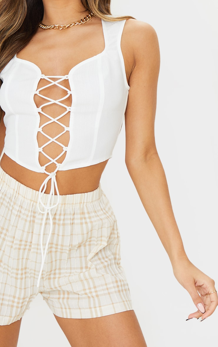 White Sweetheart Neck Lace Up Crop Top 4