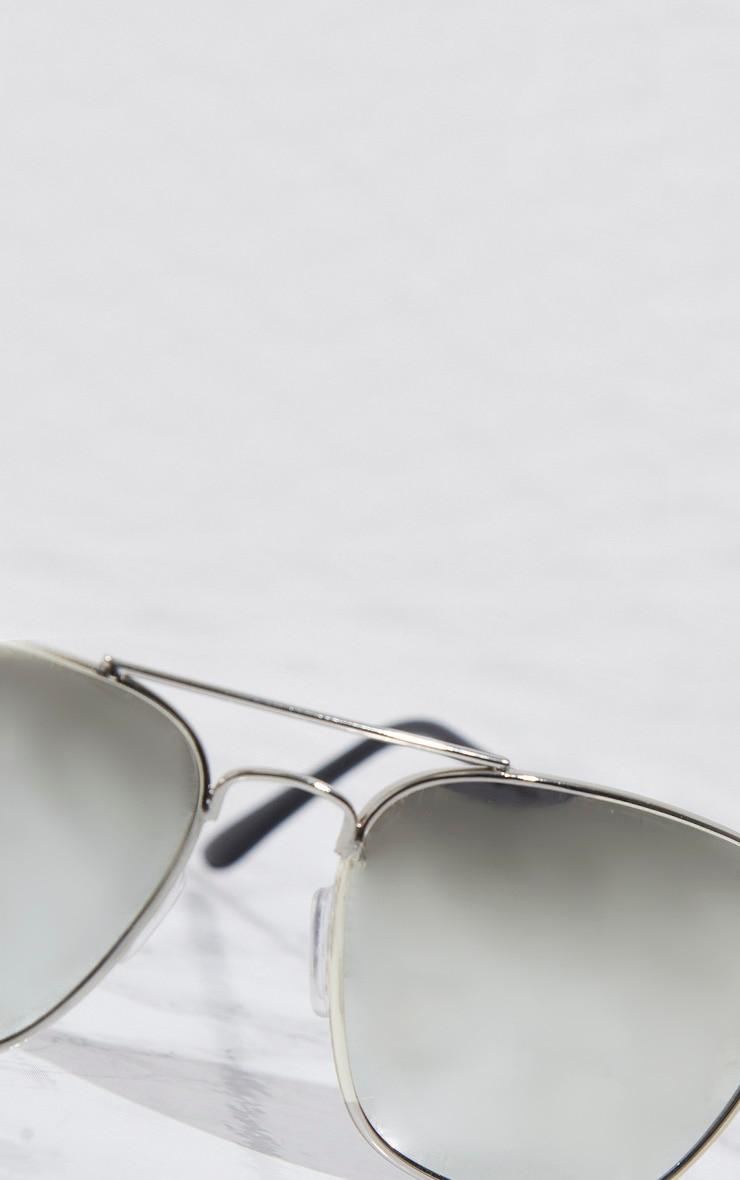 Silver Basic Square Metal Sunglasses 3