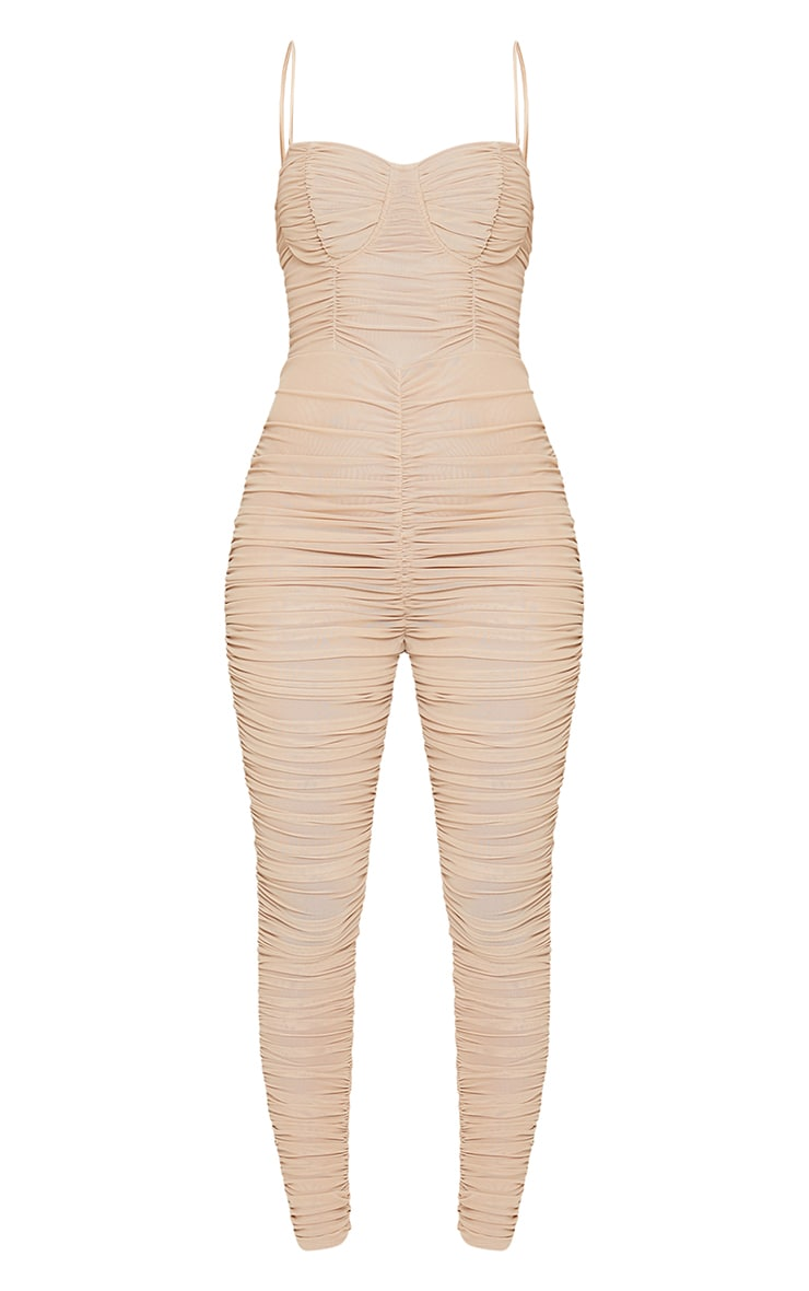 Stone Mesh Ruched Cup Detail Jumpsuit 5
