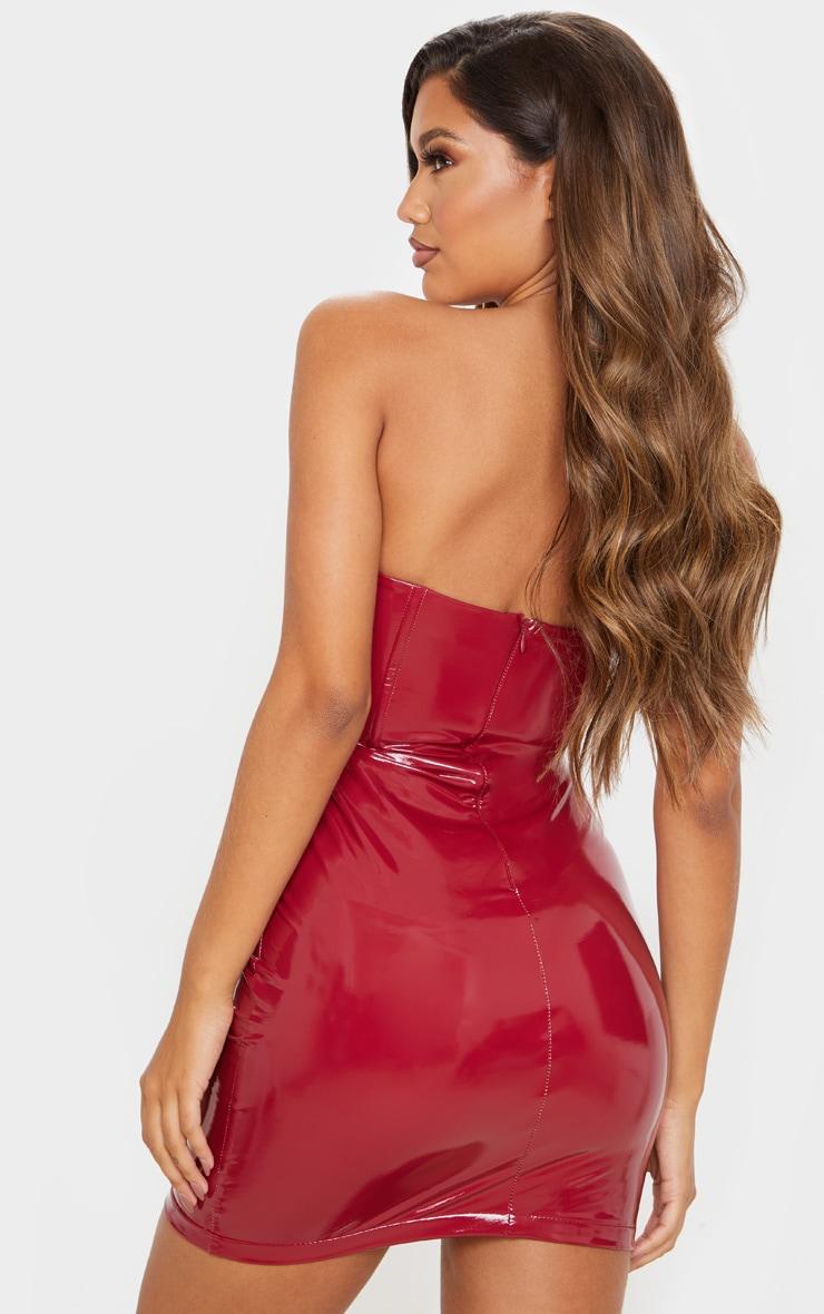 Deep Red PU Bandeau Bodycon Dress 2