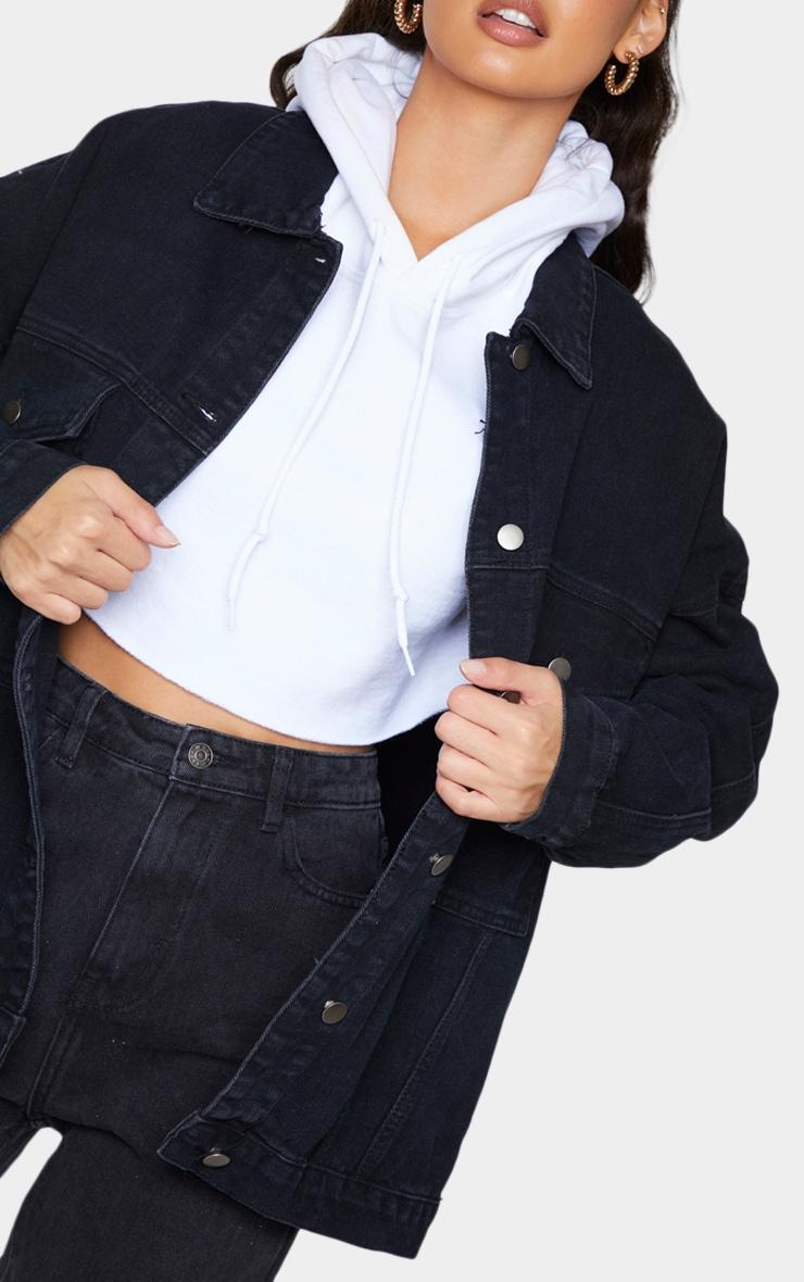 PRETTYLITTLETHING Washed Black Oversized Seam Detail Dad Fit Denim Jacket 4