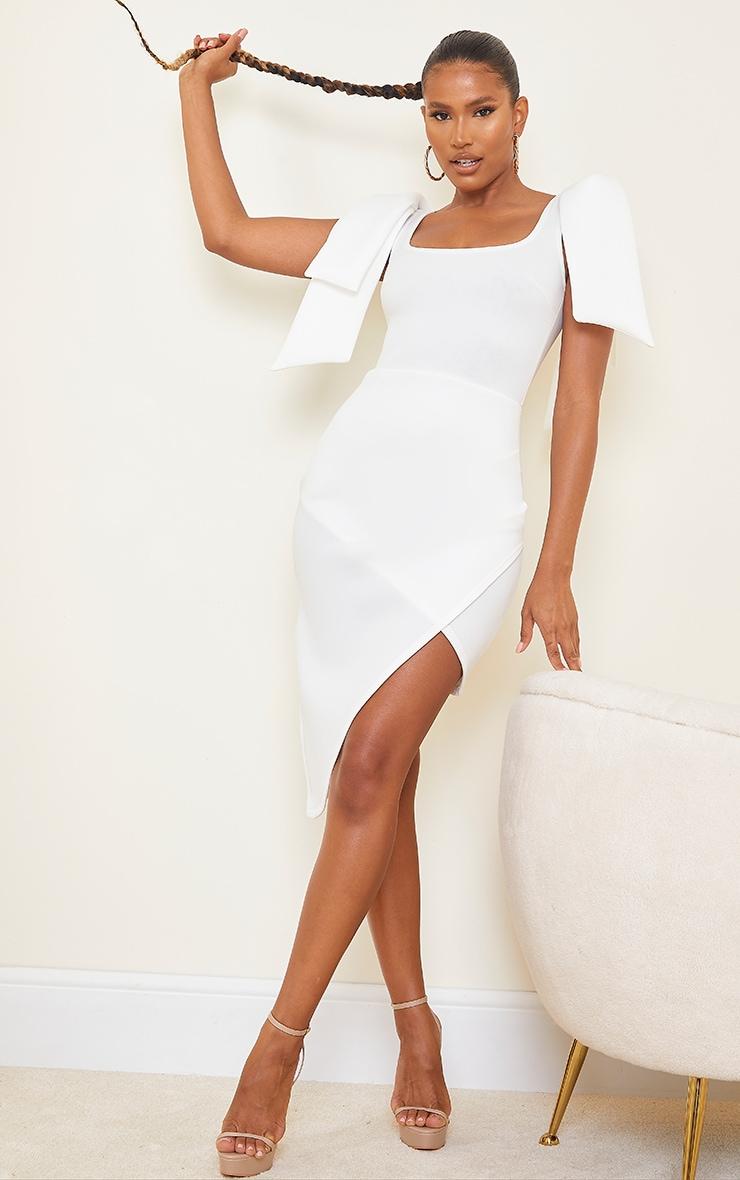 White Bonded Scuba Bow Shoulder Ruched Midi Dress 1