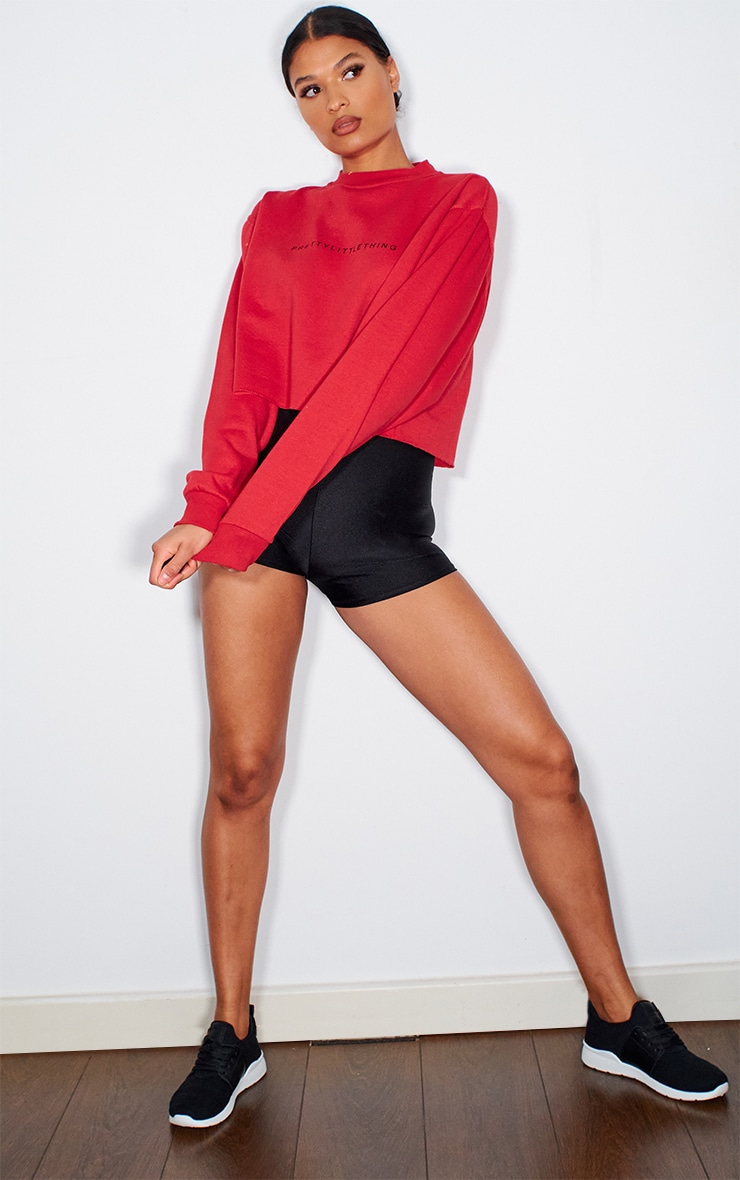 PRETTYLITTLETHING Red Sport Cropped Sweater 3