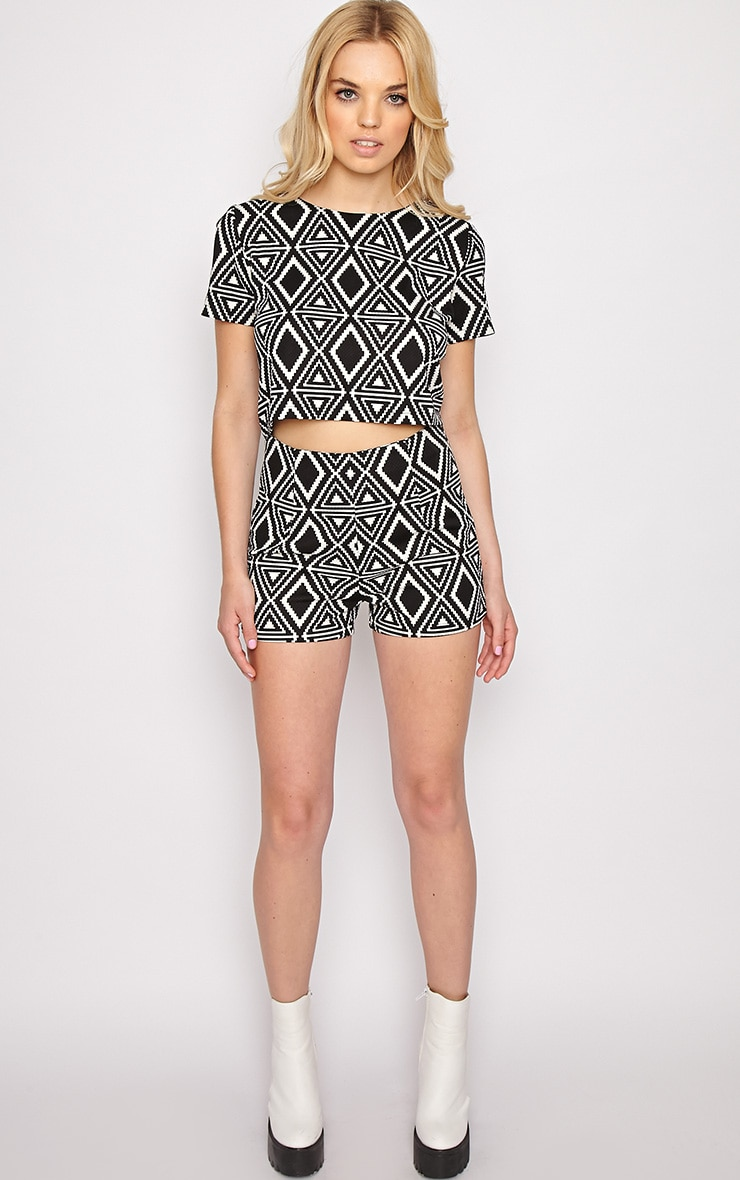Avery Monochrome Aztec Print Shorts