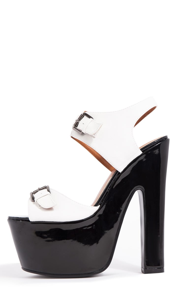 Nina White Buckle Sandals With Black Heel  1