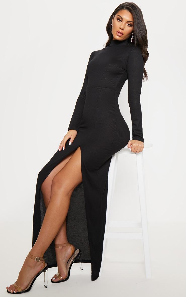 Black Ribbed Long Sleeve Maxi Dress 4