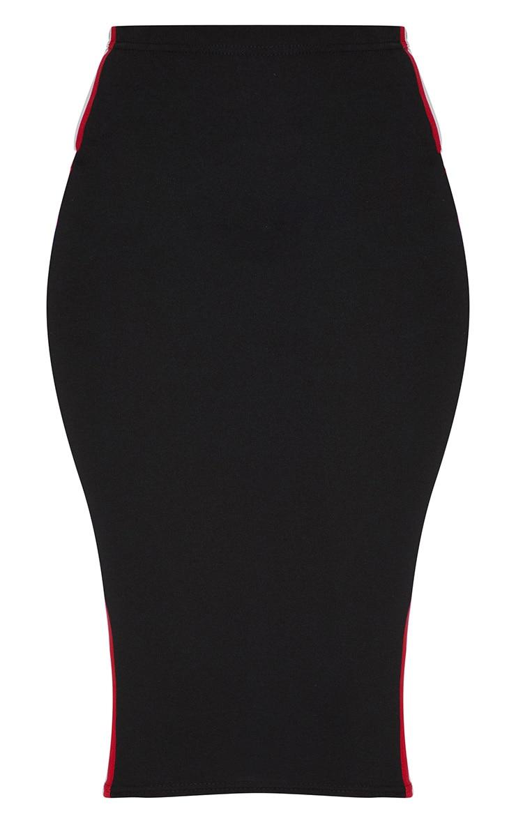 Black Side Tape Midi Skirt 3