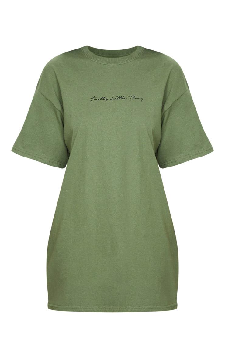 PRETTYLITTLETHING Khaki Slogan Oversized T Shirt 5