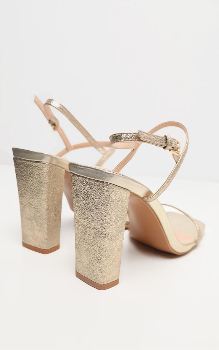 Gold Block Heel Twin Strap Slingback Sandal 4