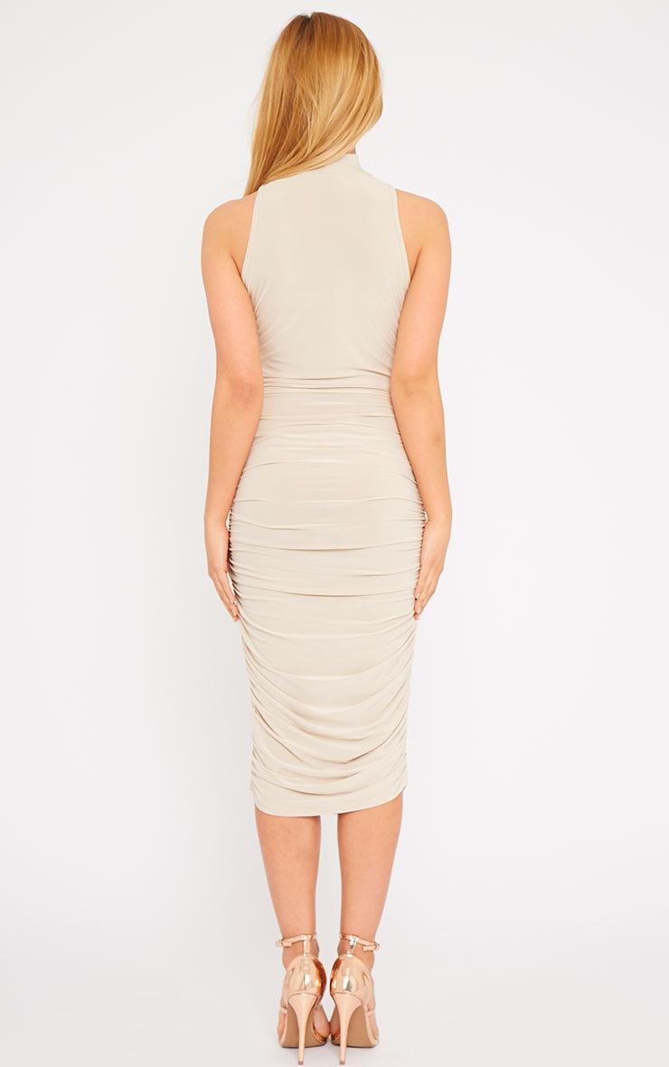 Alabama Stone High Neck Ruched Sides Dress 2