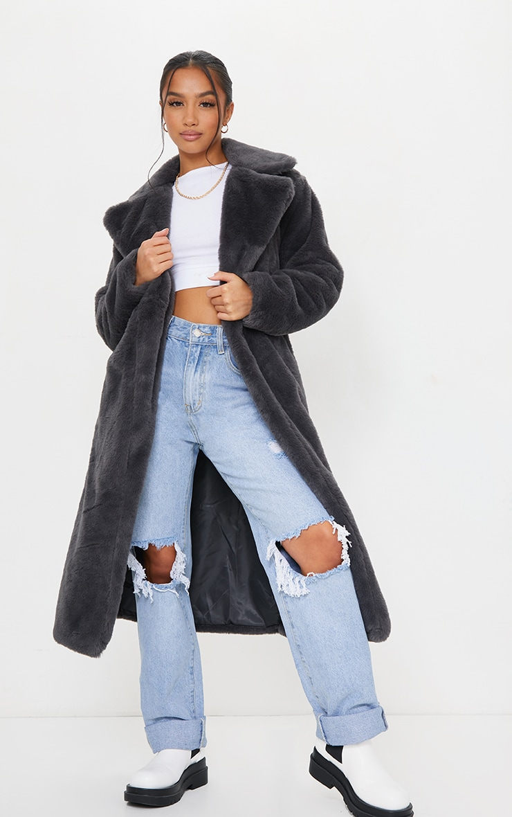Petite Grey Belted Faux Fur Coat 1