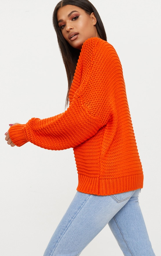 Orange Oversized Chunky Sweater 2