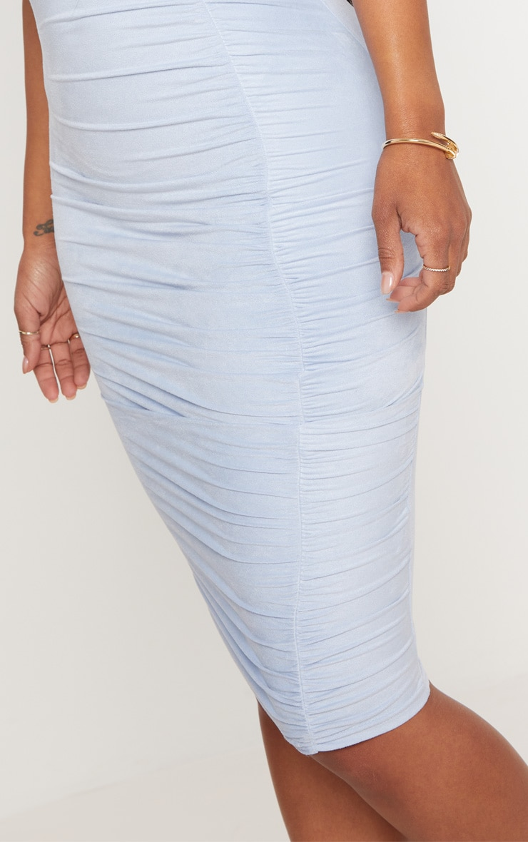 Shape Dusty Blue Faux Suede Ruched Midi Dress 5