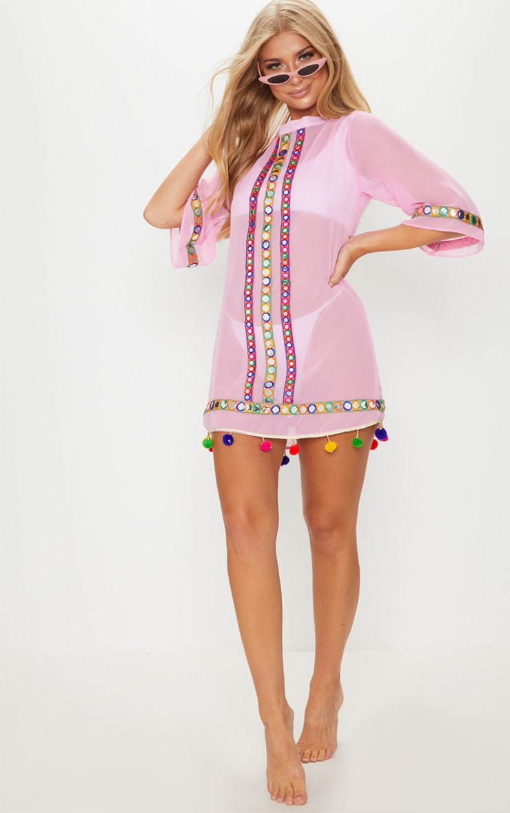 Pink Scoop Back Pom Pom & Mirror Trim Beach Dress 4