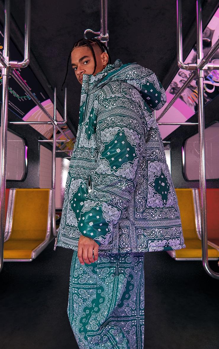 Green Unisex Paisley PU Extreme Oversized Puffer Coat 3