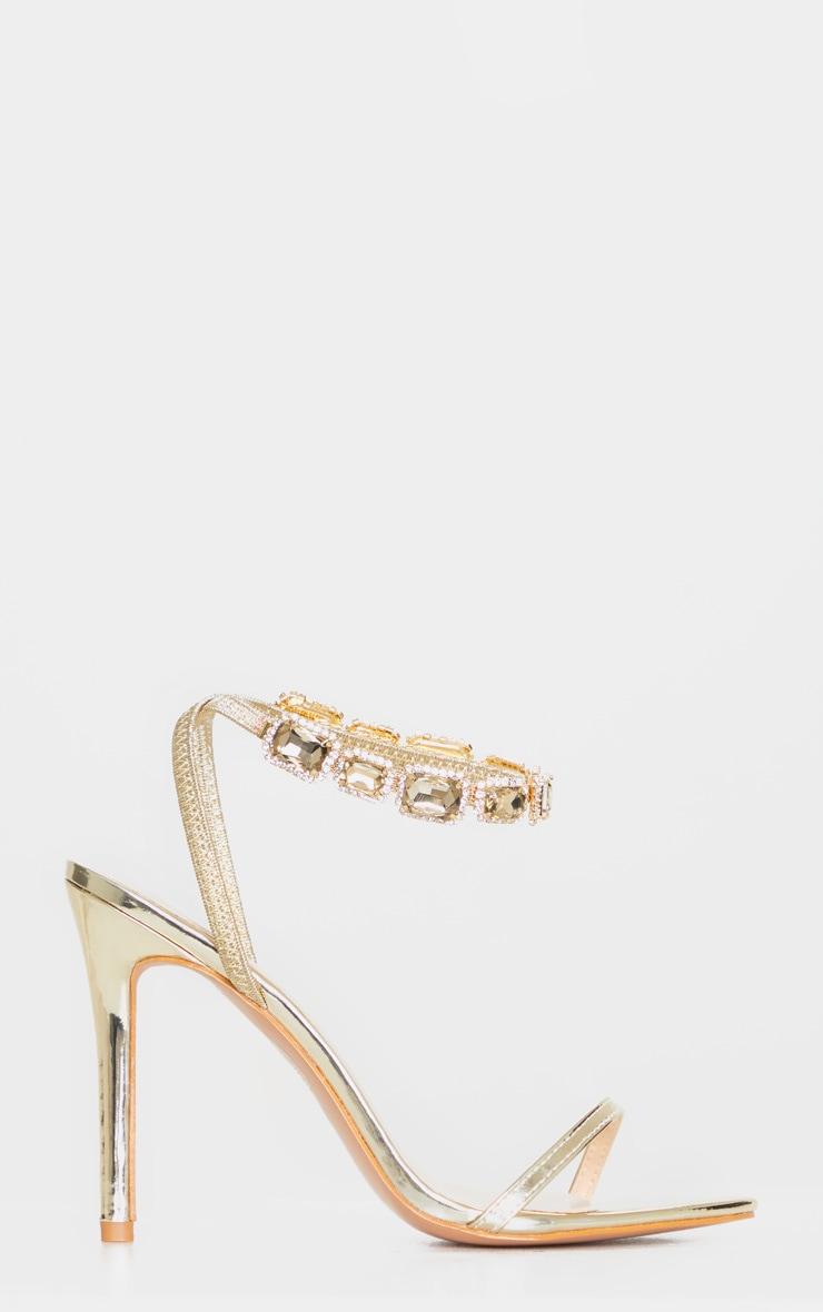 Gold Point Toe Jewel Ankle Sling Strap Heel Sandal 3